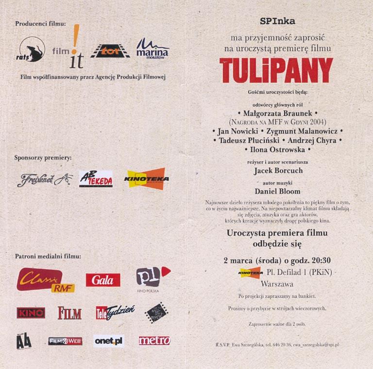 Tulipany - zaproszenie